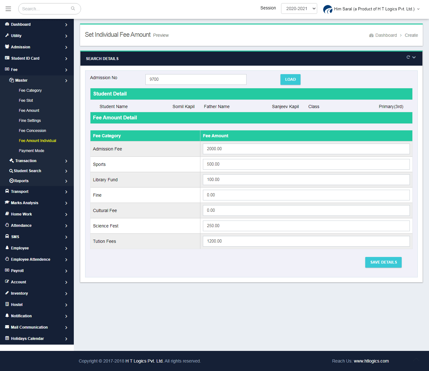 Fee Settings for Individual Student - Him Saral (Fee Management Software)