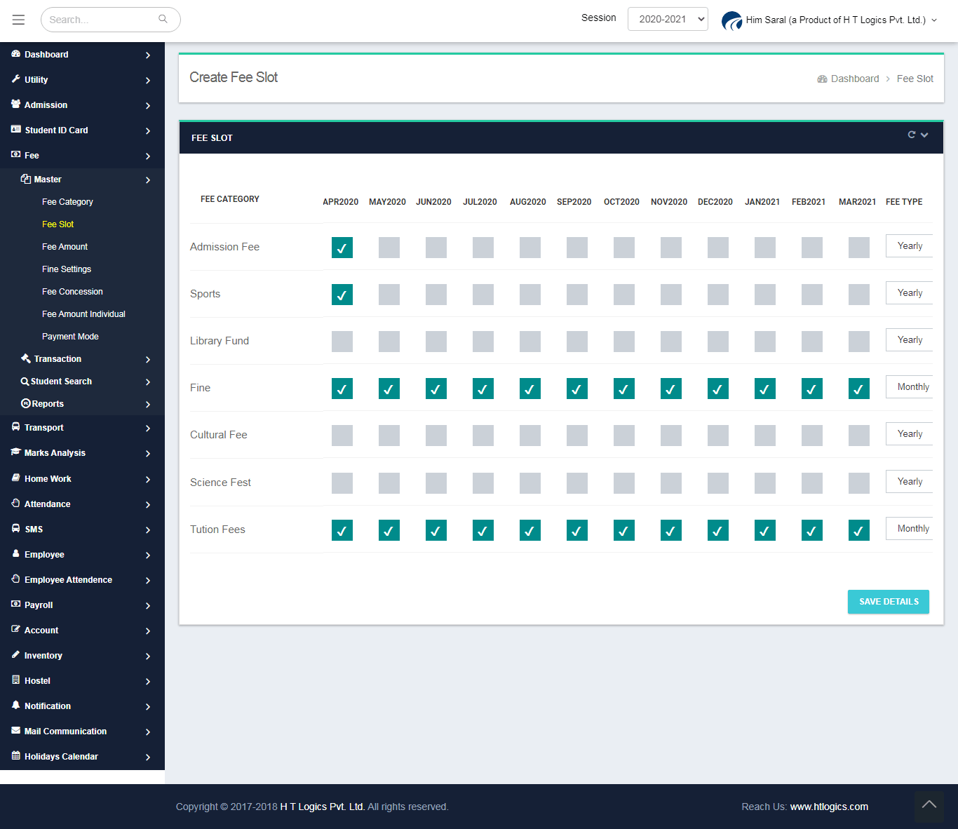 Fee Category Slot Screen - Him Saral (Fee Management Software)