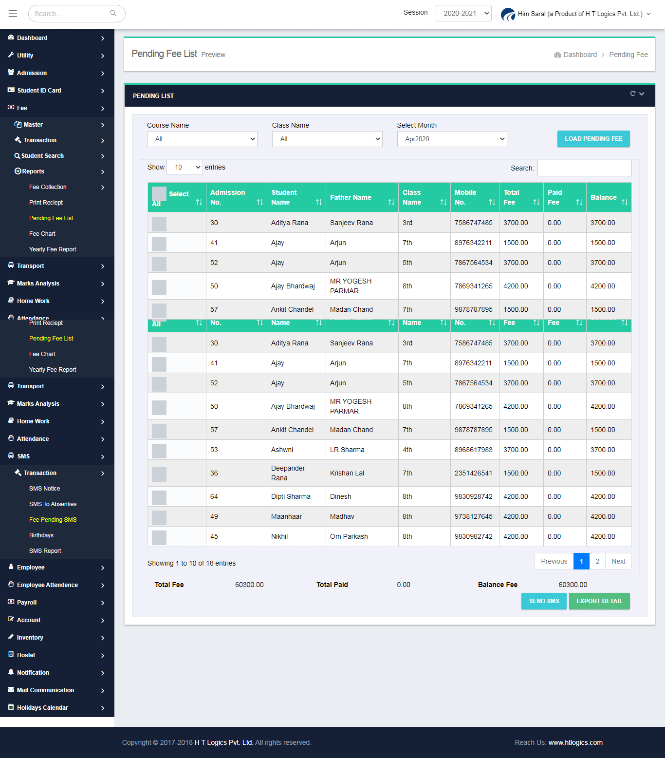 Pending Fee Report - Fee Management Software