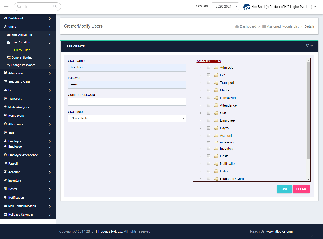 User Creation Screen for Him Saral - School Management Software