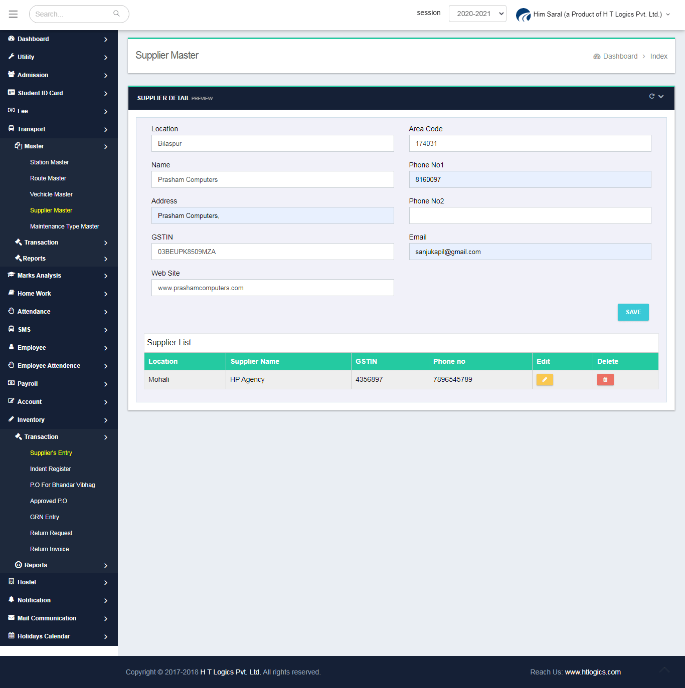 Supplier Master Entry Screen - Him Saral (Transport Management System)