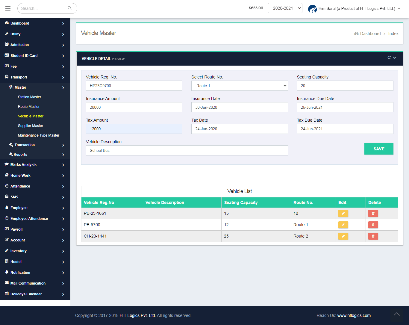 Vehicle Master Entry Screen - Him Saral (Transport Management System)